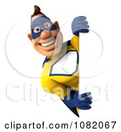 Clipart 3d Male Super Hero In A Blue And Yellow Suit With A Sign 4 Royalty Free CGI Illustration