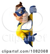 Clipart 3d Male Super Hero In A Blue And Yellow Suit With A Sign 5 Royalty Free CGI Illustration