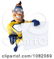 Clipart 3d Male Super Hero In A Blue And Yellow Suit With A Sign 2 Royalty Free CGI Illustration
