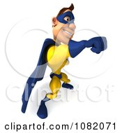 Clipart 3d Male Super Hero Punching In A Blue And Yellow Suit 4 Royalty Free CGI Illustration