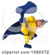 Clipart 3d Male Super Hero Kicking In A Blue And Yellow Suit 2 Royalty Free CGI Illustration