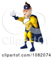 Clipart 3d Male Super Hero In Yellow And Blue Facing Left And Holding A Card Royalty Free CGI Illustration