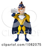 Clipart 3d Male Super Hero In Yellow And Blue Holding A Card Royalty Free CGI Illustration