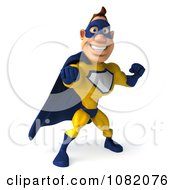Clipart 3d Male Super Hero Punching In A Blue And Yellow Suit 3 Royalty Free CGI Illustration