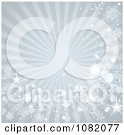 Clipart Gray Winter Ray Background With Snowflakes And Sparkles Royalty Free Vector Illustration