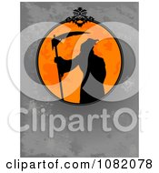 Clipart Silhouetted Grim Reaper In An Orange Halloween Frame Over Gray Grunge Royalty Free Vector Illustration