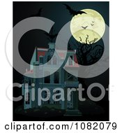 Clipart Full Moon With Bats And A Dark Halloween Haunted House Royalty Free Vector Illustration