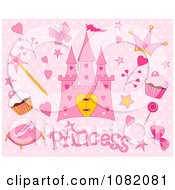 Clipart Pink Princess And Fairy Tale Items On Polka Dots Royalty Free Vector Illustration by Pushkin