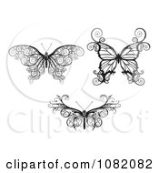 Clipart Three Butterflies In Ornate Black And White Royalty Free Vector Illustration