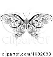 Clipart Black And White Decorative Swirl Butterfly Royalty Free Vector Illustration
