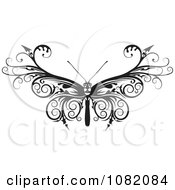 Clipart Black And White Barbed Moth Or Butterfly Royalty Free Vector Illustration