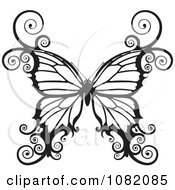 Clipart Black And White Swirly Butterfly Royalty Free Vector Illustration