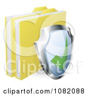 Clipart 3d Shield And Protected Files Royalty Free Vector Illustration