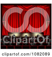 Clipart Audience Seated In Front Of A Stage With Red Curtains Royalty Free CGI Illustration by AtStockIllustration