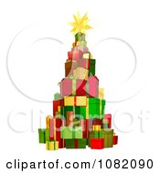 Clipart 3d Christmas Tree Tower Of Gifts Royalty Free Vector Illustration