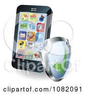 Clipart 3d Smart Phone With Apps And A Shield Royalty Free Vector Illustration