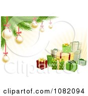 Clipart 3d Christmas Gifts With A Tree Gold Baubles And Rays Royalty Free Vector Illustration