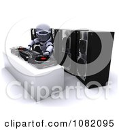 Clipart 3d Robot Mixing Music On Turn Tables Royalty Free CGI Illustration