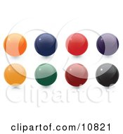 Clipart Illustration Of Orange Blue Red Purple Yellow Green Red And Black 3D Sphere Internet Buttons by Leo Blanchette