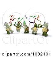 3d Tortoises Celebrating At A Party