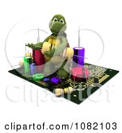 Clipart 3d Tortoise Working On A Circuit Board Royalty Free CGI Illustration