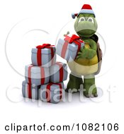 Clipart 3d Tortoise Stacking Christmas Gifts Royalty Free CGI Illustration