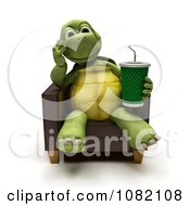 3d Tortoise Sitting In A Chair With A Soda