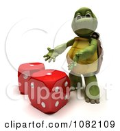 Clipart 3d Tortoise Presenting Dice Royalty Free CGI Illustration
