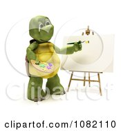 Clipart 3d Tortoise Painting On A Blank Canvas Royalty Free CGI Illustration by KJ Pargeter