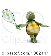 3d Tortoise Hitting A Tennis Ball