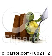 3d Tortoise Mason With A Trowel And Bricks
