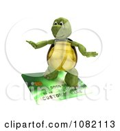 Clipart 3d Tortoise Surfing On A Credit Card Royalty Free CGI Illustration