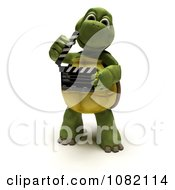 3d Tortoise Holding A Take Movie Clapperboard