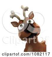 Clipart 3d Smiling Reindeer Royalty Free CGI Illustration by KJ Pargeter