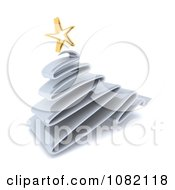 Clipart 3d Scribble Silver Christmas Tree And Gold Star Royalty Free CGI Illustration