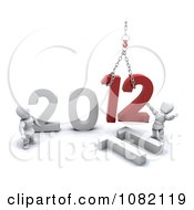 Clipart 3d White Characters Hoisting 12 For New Year 2012 Royalty Free CGI Illustration