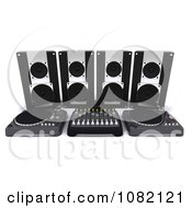 Clipart 3d Dj Speakers And Turn Tables Royalty Free CGI Illustration