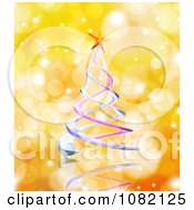 Clipart 3d Spiral Christmas Tree On Orange Sparkles Royalty Free CGI Illustration