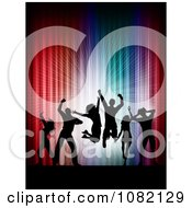 Clipart Silhouetted Dance Team Against Colorful Lights Royalty Free Vector Illustration