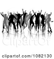 Clipart Grayscale Silhouetted Dancers And Reflections On A White Background Royalty Free Vector Illustration