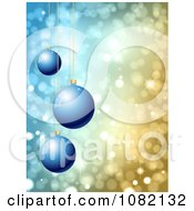 Clipart 3d Blue Christmas Baubles Over Sparkly Lights Royalty Free Vector Illustration