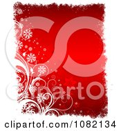Clipart Red Snowflake And Floral Christmas Background With White Grunge Borders Royalty Free Vector Illustration