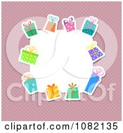 Clipart Pink Christmas Gift Frame With Copyspace Over Polka Dots Royalty Free Vector Illustration