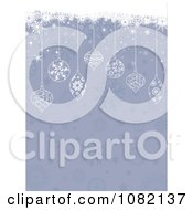 Clipart Christmas Baubles Suspended Over Faded Snowflakes Royalty Free Vector Illustration