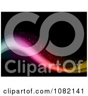 Clipart Sparkly Rainbow Wave Flowing Over Black Royalty Free Vector Illustration