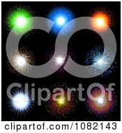Clipart Vibrant Fireworks In A Black Sky Royalty Free Vector Illustration by KJ Pargeter