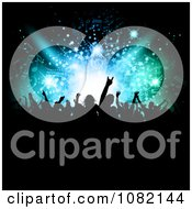 Clipart Silhouetted Crowd Partying Under Patterns In Lights Royalty Free Vector Illustration