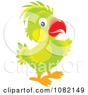 Clipart Pointing Green Parrot Royalty Free Vector Illustration