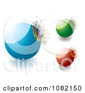 Clipart 3d Blue Green And Red Exploding Stone Design Elements Royalty Free Vector Illustration