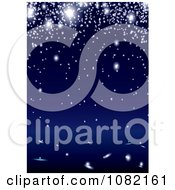 Clipart Background Of Glowing Lights Or Sparks Over Blue Royalty Free Vector Illustration by michaeltravers